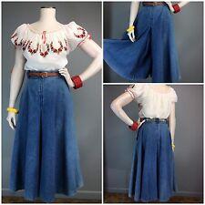 Vtg 70s 40s High Waist Style Wide WIDE Leg Gaucho Pants Denim Wide Loops Western