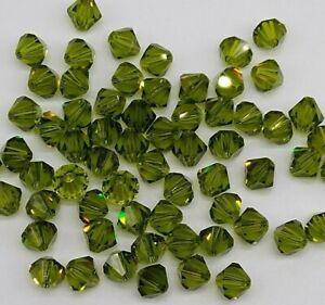 Swarovski Crystal Olivine Bicone 5328 Beads; 4mm (24pc)/ 6mm (12pc); Olive Green
