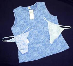 New lot MORGAN TAYLOR sz M stretch lace tank sleep top 2 Thong Panties blue MED