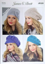 James Brett Crochet pattern Chunky Ladies Hat 4 styles JB328