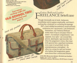 Vintage Banana Republic Freelance Briefcase. Leather and Twill, Rare and Cool