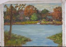 Original Autumn Lake Landscape Oil Painting Monroe Eisenberg Pulp Comic Artist