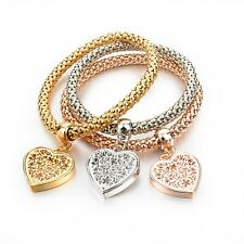 Round Fashion Bracelet, Heart Charm, Gifts for Her, Friend Gifts, Valentines