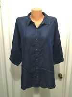 Coldwater Creek  L  Blue button blouse shirt Lyocell large