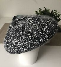 gumboots Beret Hat Beanie Knit Winter 30% ANGORA 70% Acrylic Black and White