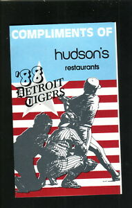Detroit Tigers--1988 Pocket Schedule--Hudson's Restaurant