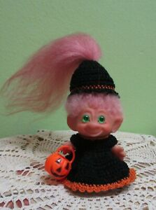 """3""""Scandia? Green Spiral Eye Troll Doll 1960's Dam Era Original Pink Mohair"""