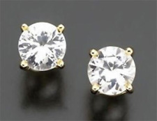 3ct VS1 Genuine White Sapphire 14K 14KT Yellow Gold Stud Earrings FREE SHIPPING