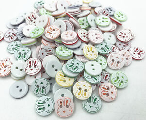 100X Round Resin buttons rabbit Pattern Mixed color sewing Scrapbooking 13mm