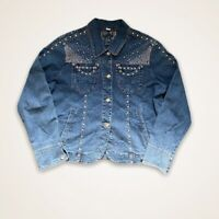 Ethyl Denim Jean Jacket Women's Bling Rhinestones Embellished Size Large