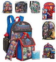 "Marvel Comics Avengers or Spiderman 5PC Set or 16"" Backpack or Lunch Bag Box New"