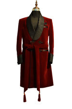 Men Maroon Smoking Jackets Quilted Lapel Designer Dinner Party Wear Long Coats