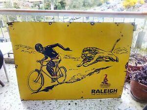 RALEIGH THE ALL-STEEL BICYCLES NOTTINGHAM- ENGLAND ORIGINAL 30s ENAMEL SIGN HUGE