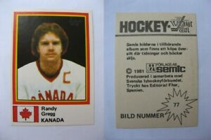 1980-81 Semic World Championship #77 Gregg Randy  sticker  canada RARE
