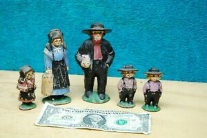 5pc lot Vintage Cast Iron Amish Traditional Family Farmers Figurines