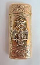 AN AMERICAN 14K GOLD & QUARTZ MATCH SAFE: FREEMASON 33rd DEGREE & KNIGHT TEMPLAR