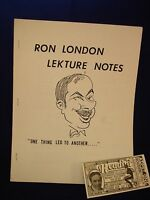 RON LONDON LECTURE NOTES VINTAGE MAGIC