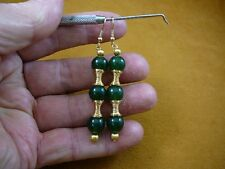 (ee403-2) Green Jade Canada 10 mm bead + gold spring gemstone dangle earrings