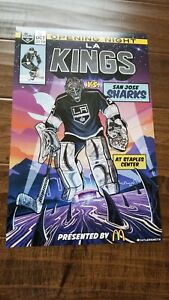 2018-19 LOS ANGELES KINGS SHARKS OPENING NIGHT POSTER COMIC BOOK LOOK QUICK SGA