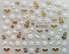 Christmas Gold White Snowflakes Hearts Nail Art Stickers Decals Transfers (254G)