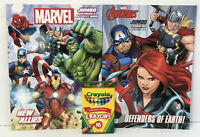 2  Kids Marvel Avengers Jumbo Coloring/Activity Books Mazes Matching + Crayons