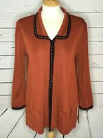 Exclusively Misook medium jacket cardigan top brown rust black button front