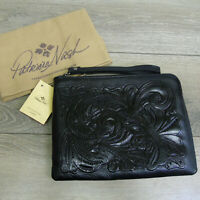 Patricia Nash Black Tooled LEATHER WRISTLET Clutch Purse Fleur de Lis Hibiscus!