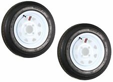 Two Trailer Tires On Rims 4.80-12 480-12 4.80 X 12 LRB 4Lug Wheel White Spoke