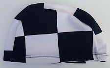 Polyester Adultes Extensible Chapeau de Natation Noir/Blanc Grand Carrés Bonnet
