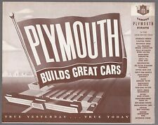 [61237] 1949 PLYMOUTH AUTOMOBILES SALES BROCHURE (ONTARIO, CALIFORNIA DEALER)