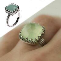 Jewelry Women Rhinestone Finger Square Shape Metal Zircon Ring Moonstone
