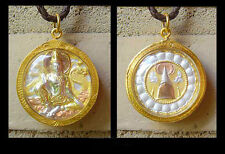 BUDDHA W/ DRAGON BUDDHIST THAI AMULET PENDANT GOLD SILVER & TAUPE