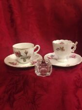 Two Vintagee Moss Rose Cup & Saucer Sets Plus Glass Salt Cellar