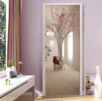 3D Self-Adhesive Space Floral Tree Bedroom Door Wrap Murals Stickers Wall Decor