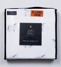 Cynthia Rowley Extra Long TWIN White UNICORN Sheet Set & 1 Pillowcase / NEW