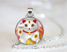 Photo Cabochon Glass necklace Silver popular pendants(lucky cat)#953