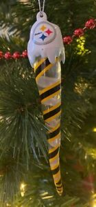 Pittsburgh Steelers Christmas Tree Icicle Ornament LIGHTS UP Holiday FREE SHIP