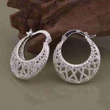 NEW Pretty 925P Silver Filigree Style Hoop Earrings, UK Seller