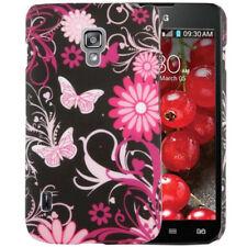 HardCase Hülle für LG P715 Optimus L7 II Dual Blumen Schmetterlinge pink schwarz