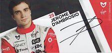 Jerome D'AMBROSIO Firmato a Mano FORMULA 1 PROMO CARD Marussia Virgin.