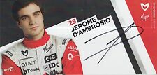 Jerome d'Ambrosio Hand Signed Formula 1 Promo Card Marussia Virgin.