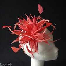 Coral Sinamay and Feather Fascinator For Races, Proms , Weddings