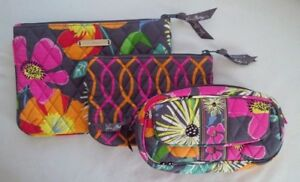 VERA BRADLEY Jazzy Blooms 3PC Cosmetic Toiletry Pouch's & Make-up Case Set