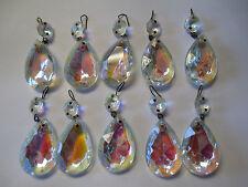 "10 - Vintage Antique Clear AB Chandelier Crystal Prisms Tear Drops 2 3/8"" Long"