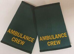 Woven Ambulance Crew Epaulette Slider Pair Green Epaulettes