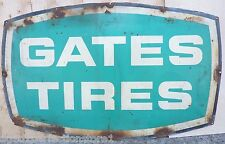 Orig 1950s GATES TIRES Sign old repair shop dealership gas station adv metal LRG