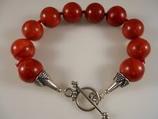 Sterling Silver, Smooth Round Red Coral Beaded Bracelet Heart Shape Toggle Clasp