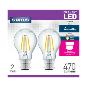 Status LED 4w = 40w, Filament Bulb, Warm White, Non-Dimmable,B22 Bayonet, 2 Pack