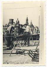 Dresden 1956 - Wiederaufbau Straßenbau Ruinen Bauarbeiter - Altes Foto 1950er