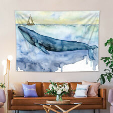 Watercolor Sailboat Ocean Blue Whale Tapestry Wall Hanging for Living Room Dorm